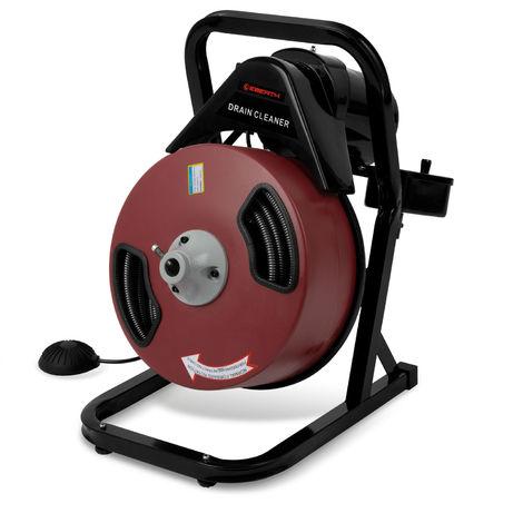 Rohrreinigungsmaschine (20 m Metallspirale, Robuste Innentrommel, inkl. 4 Bohraufsätze) Rohrreiniger Rohrreinigungsgerät Spiral Bohrer