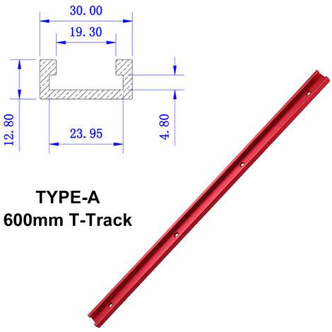 Rojo 300 mm / 400 mm / 500 mm / 600 mm Lengüeta de aleación de aluminio T-Track Slider Tuerca Slider DIY Herramienta de carpintería (TIPO A 600mm T Track Slider)
