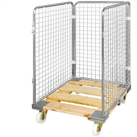 Roll-conteneur grillagé avec socle roulant en bois, 3 côtés, hauteur intérieure 1020 mm