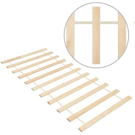 Roll-up Bed Base with 11 Slats 90x200 cm Solid Pinewood