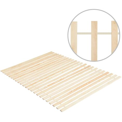 Roll-up Bed Base with 23 Slats 140x200 cm Solid Pinewood