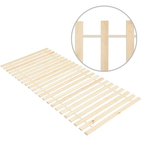 Roll-up Bed Base with 23 Slats 70x200 cm Solid Pinewood