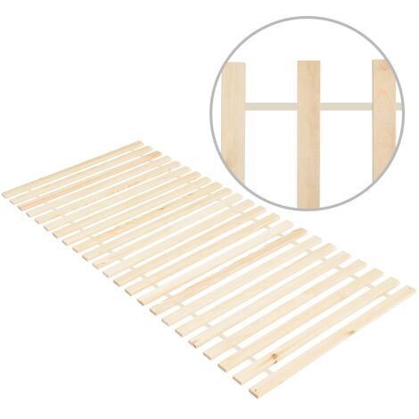 Roll-up Bed Base with 23 Slats 90x200 cm Solid Pinewood