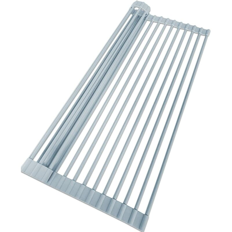 Roll Up Dish Drying Rack- Over The Sink Drying Mat- Multipurpose Dish Drainer for Vegetable and Fruits- Drying Rack Kitchen(20' x 13' Gray