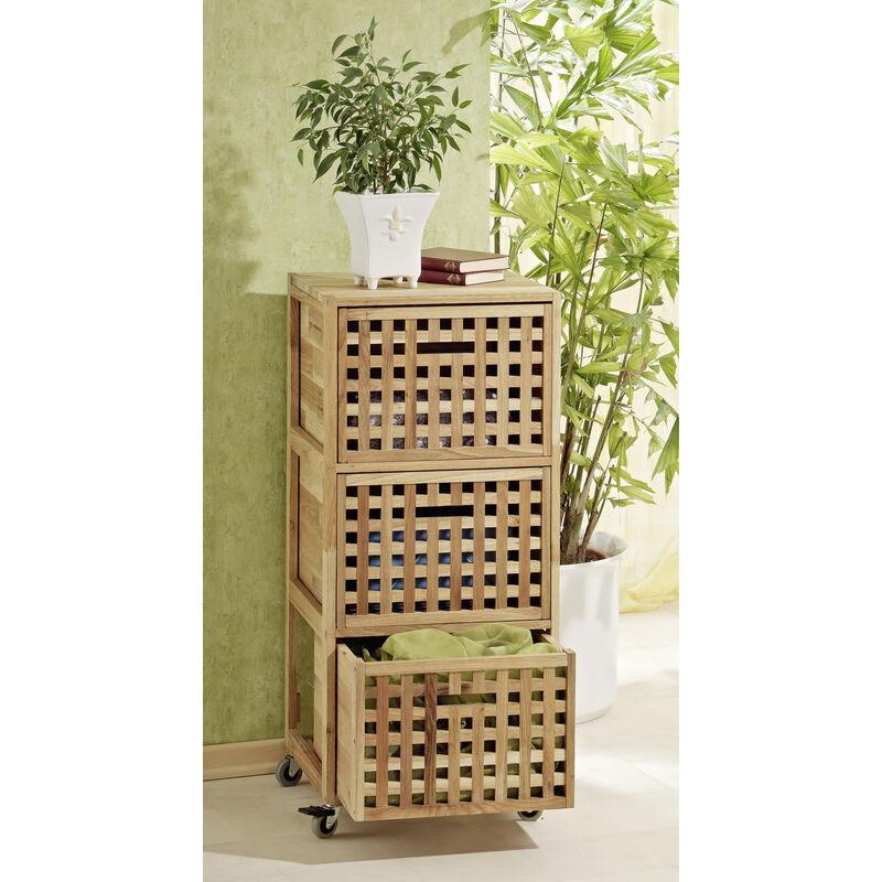 Rollcontainer, 3 Boxen, Gitterdesign, Walnussholz - MERCATOXL