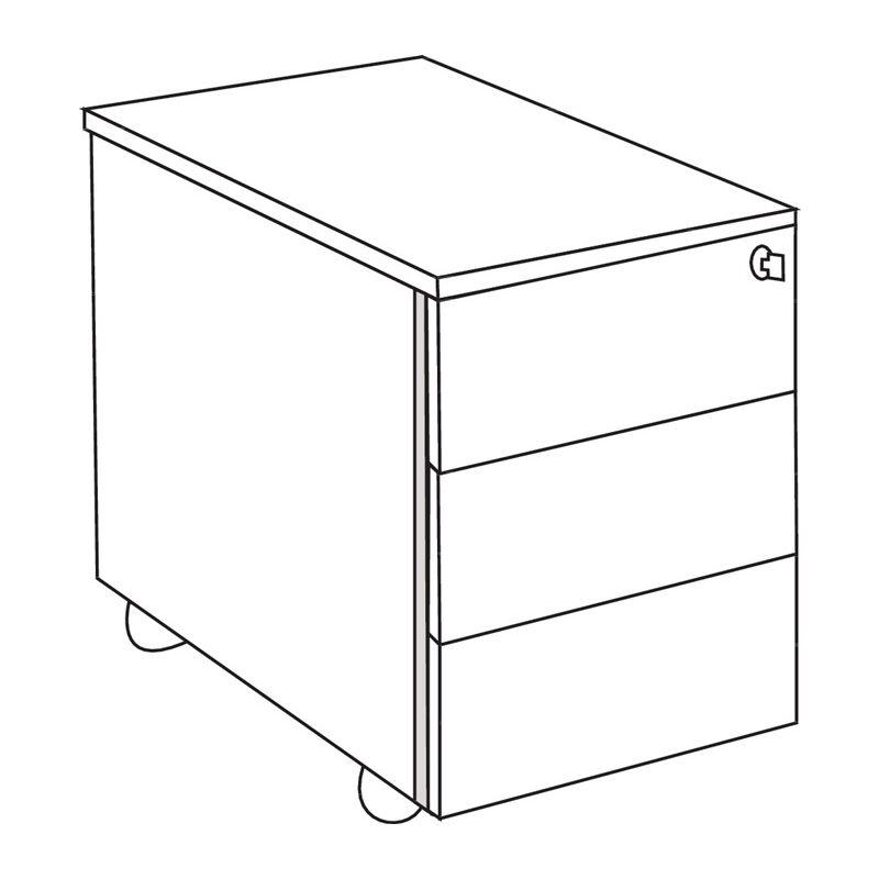 Rollcontainer M-ove H540xB430xT800mm weiß 3 Schubl. - THEO KERKMANN