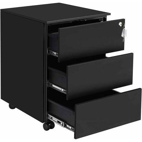 Rollcontainer, mobiler Aktenschrank, abschließbar, mit 3 Schubladen, Aufbewahrung von Akten, Büroutensilien, vormontiert, Büro, Home Office, 39 x 45 x 55cm (L x B x H), Mattschwarz OFC63BK