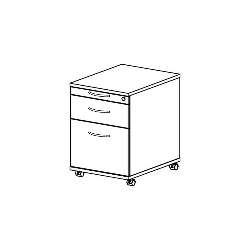 Rollcontainer Pro-B H590xB428xT580mm weiß 1 Schubl.u.1 Hängeregisterauszug - HAMMERBACHER