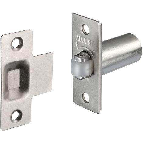 Roller Catch with Adjustable Roller Catch Projection Satin Nickel Finish
