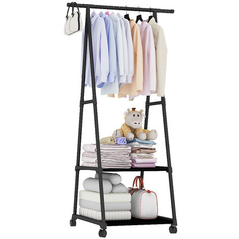 Rolling clothes rack, hanging clothes bar, heavy duty hanger organizer