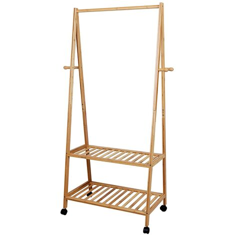 Rolling Coat Rack, Bamboo Garment Rack, Clothes Hanging Rail with 2 Shelves 4 Hooks, for Shoes, Hats and Scarves, in the Hallway, Living Room, Guest Room RCR52N