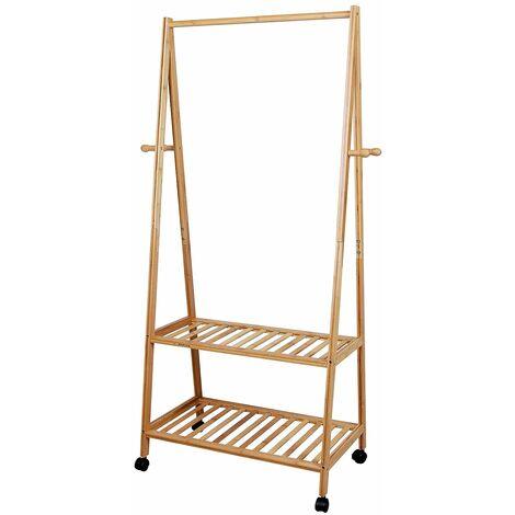 Rolling Coat Rack Bamboo Garment Rack Coat Clothes Hanging Rail 2 Tiers 4 Hooks for Shoe and Hat Rack 69.5 x 152 x 43cm RCR52N