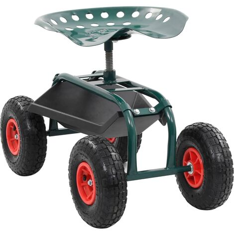 Rolling Garden Cart with Tool Tray Green 78x44.5x84 cm