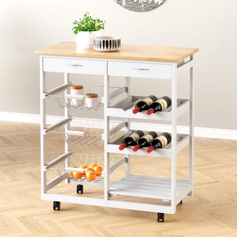 Rolling Kitchen Cart Storage Cabinet Trolley Wood Drawers Shelf Worktop w/ Wine Racks