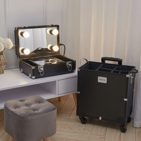 Rolling Makeup Case Storage Box Trolley with 4 LED Bulbs Mirror