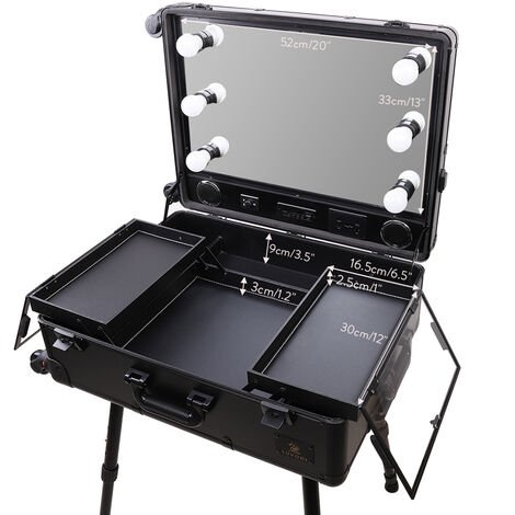 Rolling Makeup Case Train Table Makeup Vanity Mirror Cosmetic Trolley LED Light
