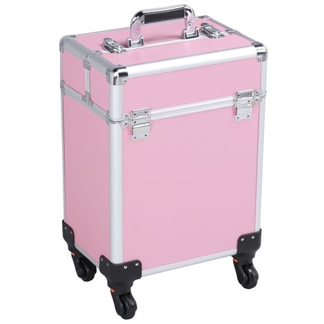 Rolling Makeup Trolley Cosmetic Case Train Case Beauty Box Vanity Case Storage Hairdressing Organiser for Salon, Beauty Studio, Professional Makeup Artist Pink
