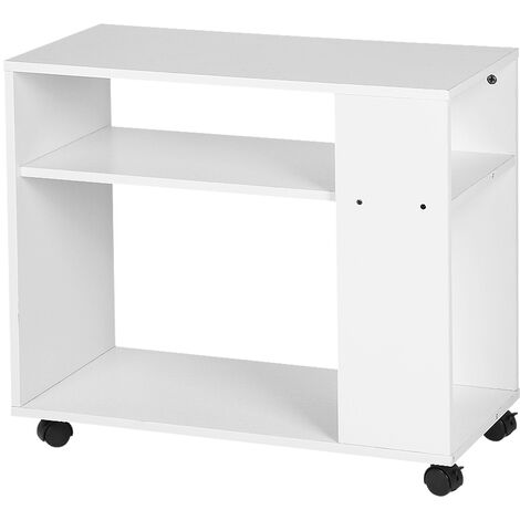 Rolling sofa end with 2 storage shelves, 2 Levels Rolling bookcase , white