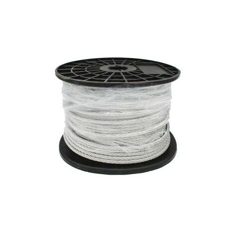 Recubierto de pl/ástico Negro Cable de Acero Inoxidable de 3 mm BeMatik Bobina de 10 m
