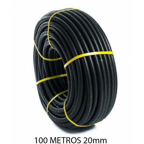Rollo 100 metros tubo corrugado negro 20mm