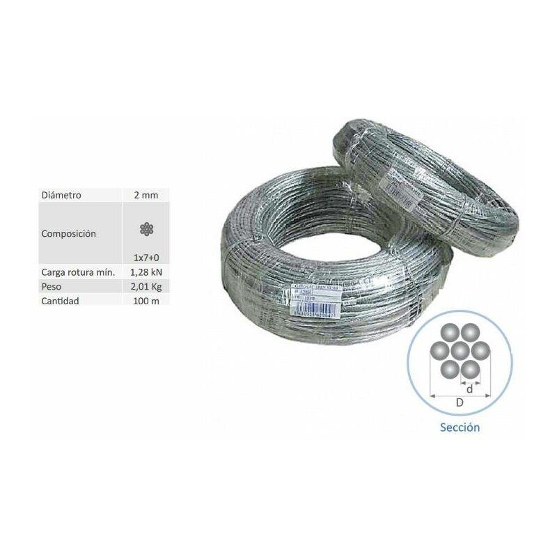 Rollo 100 Mts Cable Vientos Acero Trenzado 2 Mm 62021 - ANTENAS