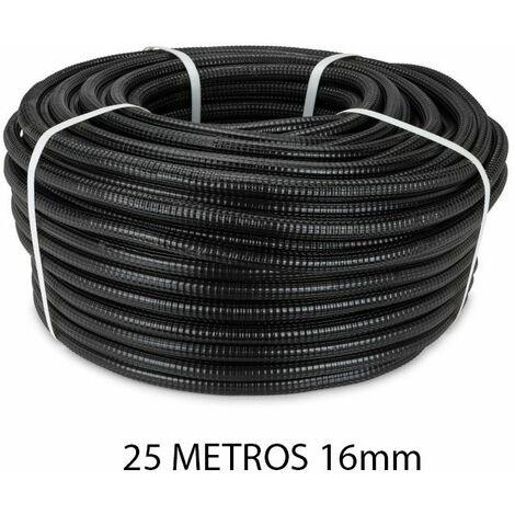 Rollo 25 metros tubo reforzado negro 16mm
