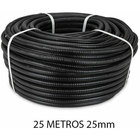 Rollo 25 metros tubo reforzado negro 25mm
