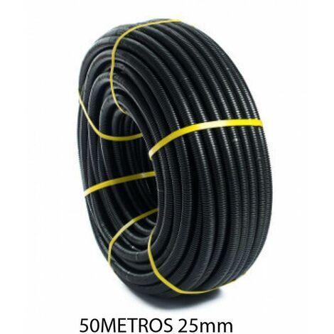Rollo 50 metros tubo corrugado negro 25mm