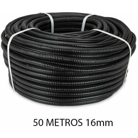 Rollo 50 metros tubo reforzado negro 16mm