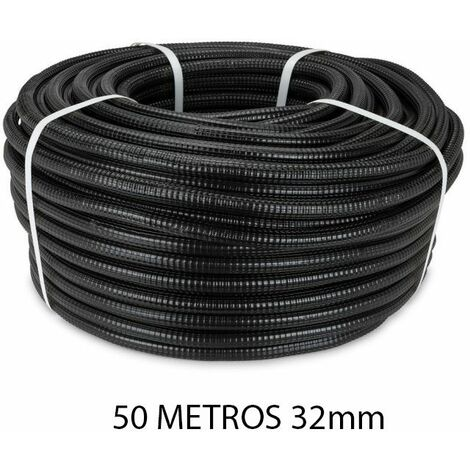 Rollo 50 metros tubo reforzado negro 32mm