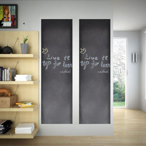 Rollo adhesivo de pizarra de pared con tizas 2 uds 0,45 x 2 m - Negro