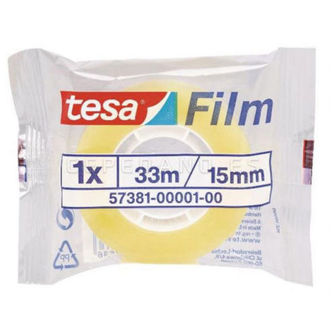 Rollo Celo TESA Transparente 15mmx33mts