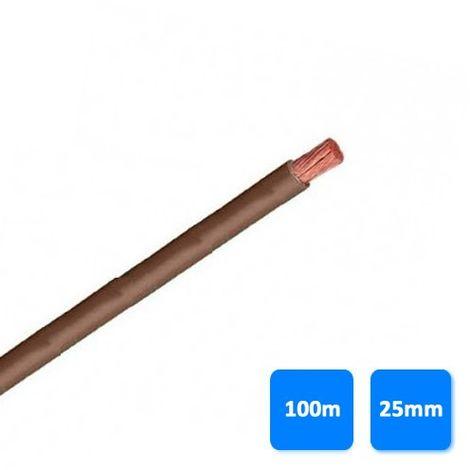Rollo de cable libre de halógenos 25mm marrón (100 metros) H07Z1-K AS 750V