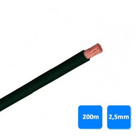 Rollo de cable unipolar 2,5mm negro (200 metros) H07V-K 750V