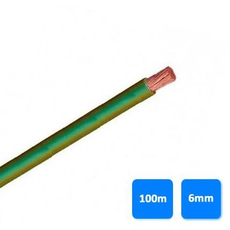 Rollo de cable unipolar 6mm amarillo y verde (100 metros) H07V-K 750V