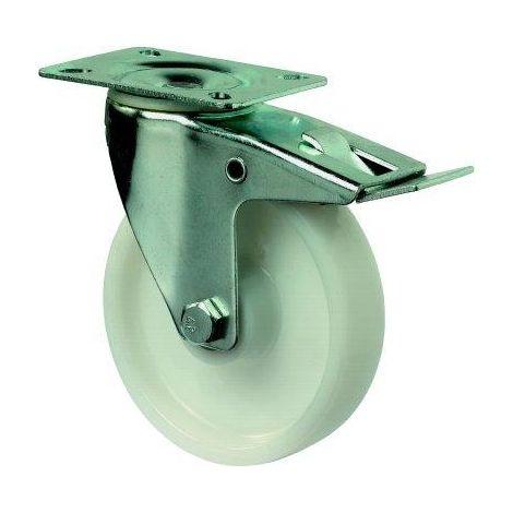 Rollo de dirección sólido 100mm acero BL verz Poly LG. R