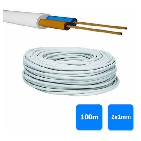 Rollo de manguera 2x1mm blanca (100 metros) H05VV-F