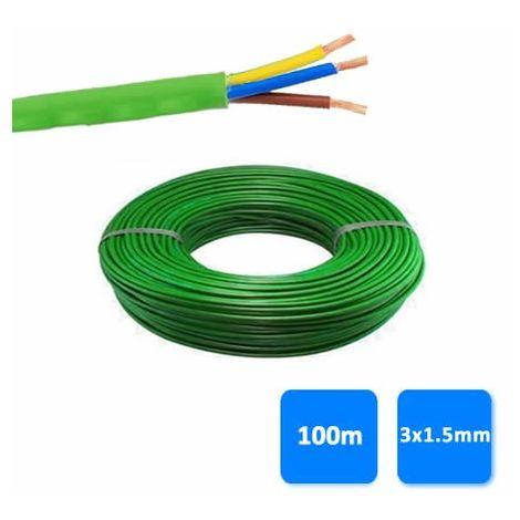 Rollo de manguera libre de halógenos 3x1.5mm verde 1 kV (100 metros) RZ1-K (AS)