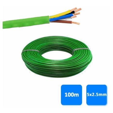 Rollo de manguera libre de halógenos 5x2.5mm verde 1 kV (100 metros) RZ1-K (AS)