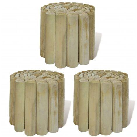Rollo de troncos borde de jardín 3 uds madera 250x20 cm