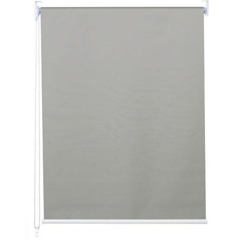 Rollo HHG-337, Fensterrollo Seitenzugrollo Jalousie, Sonnenschutz Verdunkelung blickdicht 100x160cm ~ grau