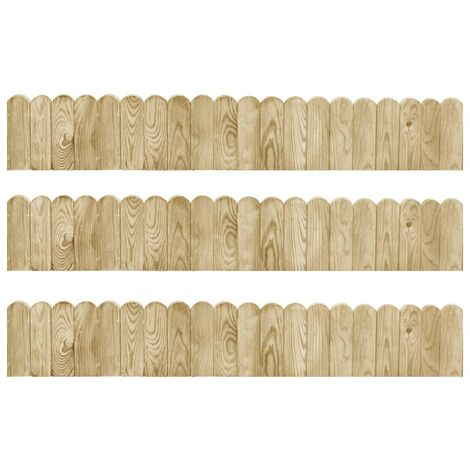 Rollos de borde de jardín 3 uds madera pino impregnada 120 cm