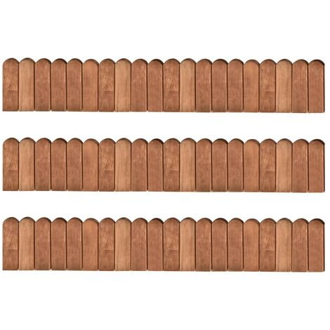 Rollos de borde jardín 3 uds madera de pino impregnada 120 cm