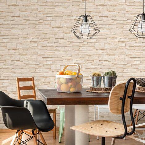 Rollos papel pintado no tejido 2 uds ladrillos crema 0,53x10 m