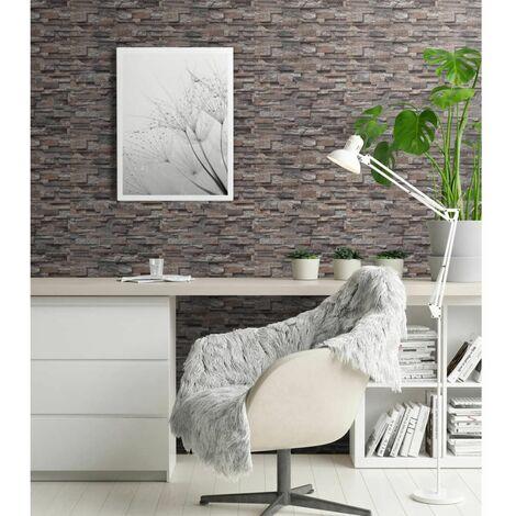 Rollos papel pintado no tejido 2 uds ladrillos gris 0,53x10 m