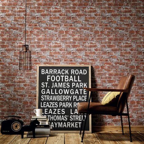 Rollos papel pintado no tejido 2 uds marrón y rojo ladrillos