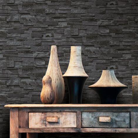 Rollos papel pintado no tejido 4 uds ladrillos negro 0,53x10 m