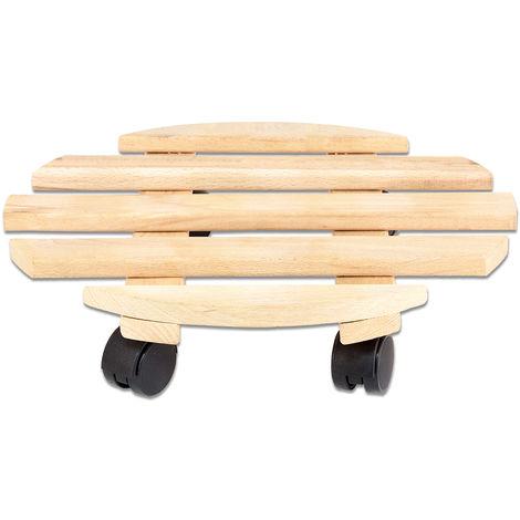 Rolluntersetzer Pflanzroller 35 cm - Max. 100 kg Traglast - Aus Buchenholz - Stabil & robust - Für Pflanztöpfe, Möbel & schwere Gegenstände -