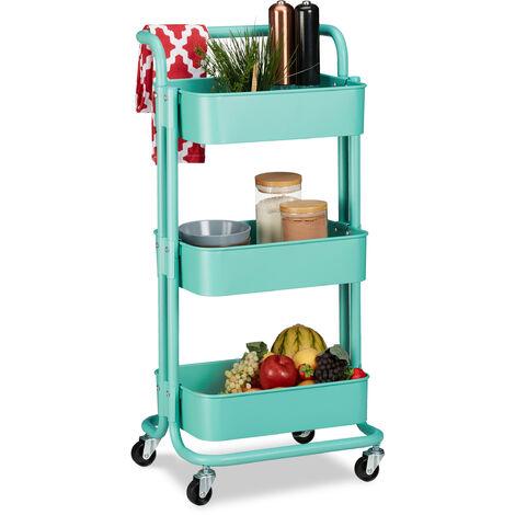 Rollwagen, 3 Etagen, 2 Bremsen, Allzweckwagen Küche, Bad, Büro, Rollregal, Metall, HBT 84 x 42 x 37 cm, blau