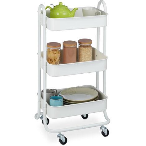 Rollwagen, 3 Etagen, 4 Rollen, Allzweckwagen für Küche, Bad, Büro, Küchenwagen HBT 84 x 44,5 x 35,5 cm, weiß